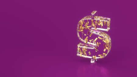 gold bars & rotate dollar glass symbol,treasury wealth Ingot luxury finance goods trading