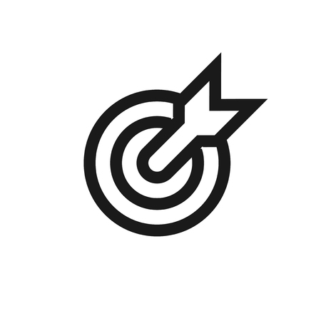 Target. Isolated vector icon, sign, emblem, pictogram. Flat style for design, web