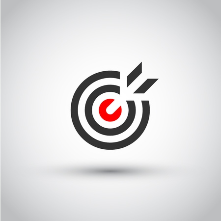 Target. Isolated vector icon, sign, emblem, pictogram. Flat style for design, web, logo or UI. Eps10 Ilustração