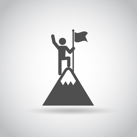 Man with Flag stendind on the top of Mountain. Icon. Success concept.