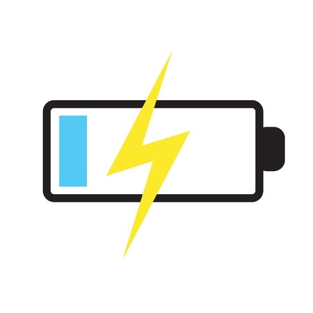 vector battery icon - power illustration, electricity charge sign