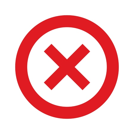 isolated forbidden vector sign - red circle and cross