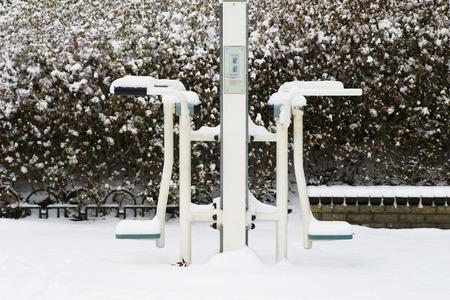 Snowboard park equipment Stock Photo