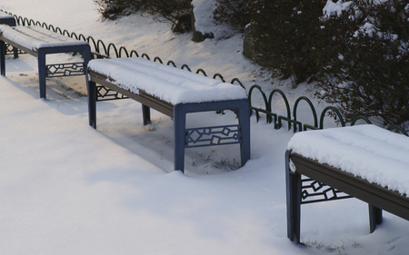 A bench in a snowy park
