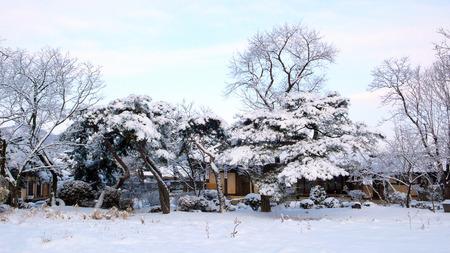 Winter landscape of Onyang Oeam-ri Folk Village in Onyang 写真素材