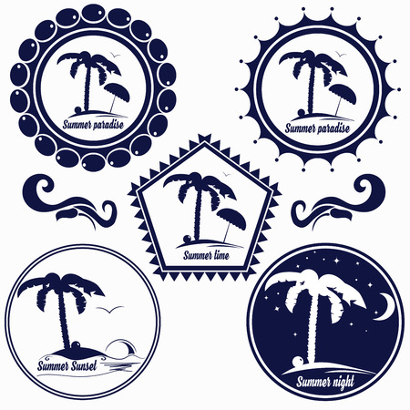 paradise place: Set of badges for summer beach, summer paradise, place for rest, hotel, cafe, etc.  design consists of palm tree, coconut, island, umbrella, text, island during day and night. Vector illustration.