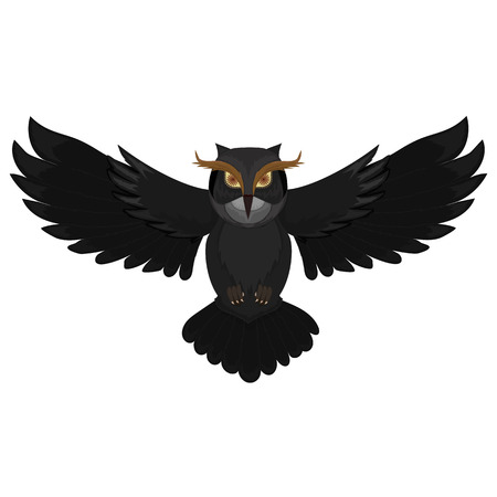 Flying dark owl. Cartoon wild bird. Vector illustration. Ilustrace
