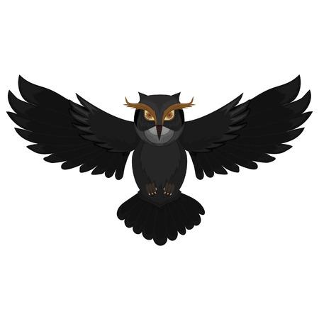 Flying dark owl. Cartoon wild bird. Vector illustration. Illustration