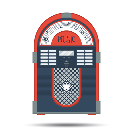 Flat retro jukebox isolated on white.