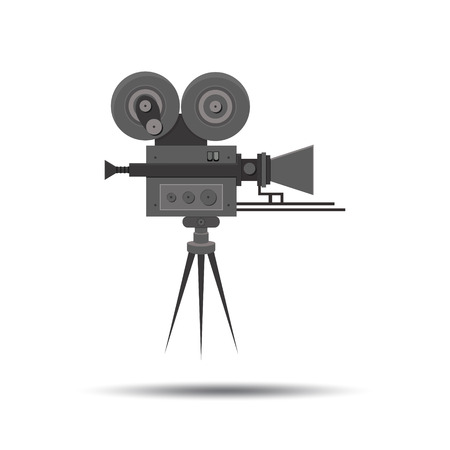 videocamera: Flat detailed professional retro movie film camera, vintage cinema. Illustration
