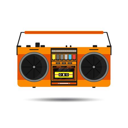 Flat vintage orange tape recorder for audio cassettes.  Illustration