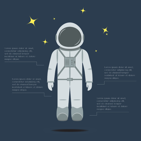 spacesuit: Flat astronaut. Trendy design of professional. Cosmonaut in spacesuit. Background with place for text or infographic elements. Vector illustration. Illustration