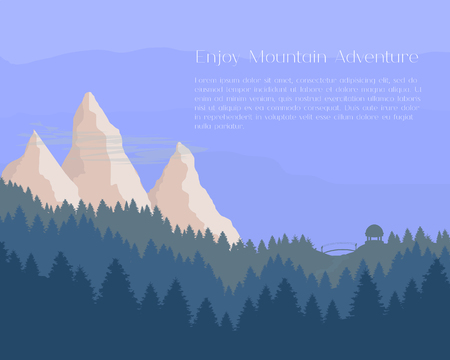 nature vector: Flat pine forest and mountains in blue colors. Travel banner, card, presentation background template, invitation, flyer. Nature landscape graphics. Vector illustration. Illustration