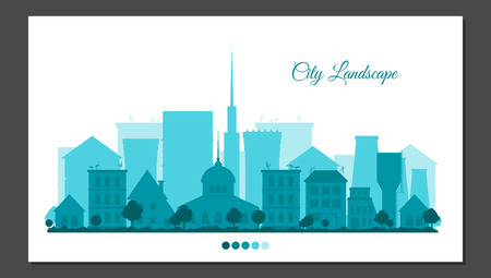 city background: Flat city landscape in blue colors. Urban background for card, horizontal banner, presentation template, bag, web cite, real estate. Town vector illustration.