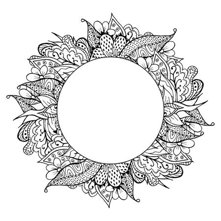 Black and white hand drawn doodle frame. Abstract zentangle background. Good for cards, invitations, wedding, t-shirt, brochure, flyer, calendar. Vector illustration. Illustration