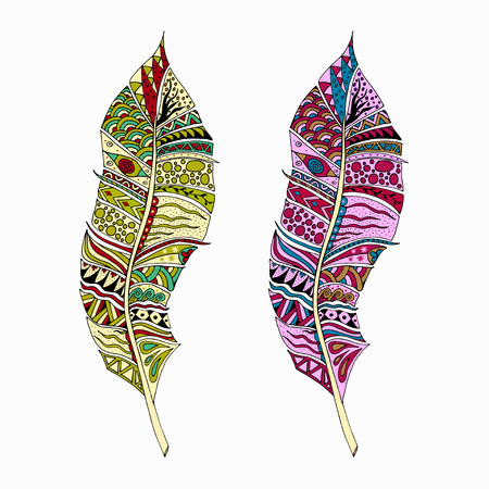 etno: Colorful doodle feathers. Abstract zentangle background. Tribal ethnic indian design. Good for card, greeting, invitation, party, bag, notebook cover, presentation. Vector illustration.