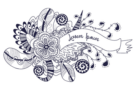 Doodle banner, hand drawn background element. Abstract floral zentangle with ribbon, flowers, feathers. Perfect for greeting card, invitation, bag design, background template. Vector illustration.