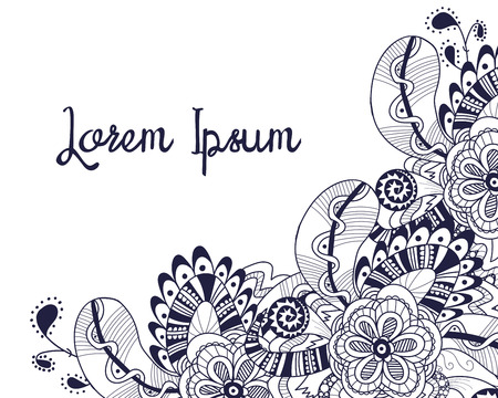 Hand drawn tribal monochrome doodle corner. Abstract zentangle decoration with flowers and feathers. Perfect for greeting card, invitation, bag design, site, background template. Vector illustration.