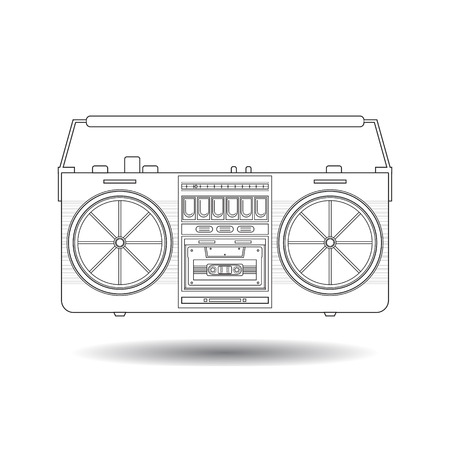 boombox: Line art vintage tape recorder for audio cassettes. Music boombox. Modern trendy design for music concept. Poster, card, leaflet or banner template design with place for text. Vector illustration.
