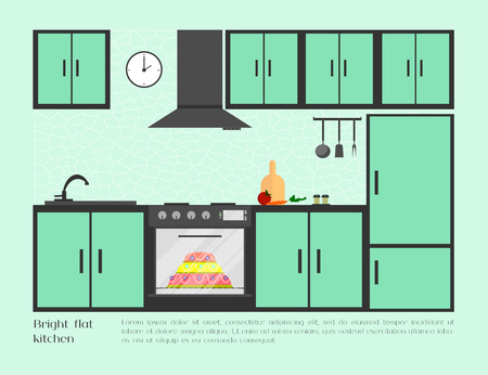 refrigerator with food: Home, cafe or restaurant bright flat kitchen with kitchen sink, stove, refrigerator, food, clock, ventilation and other kitchenware. Modern design. Vector illustration background. Illustration
