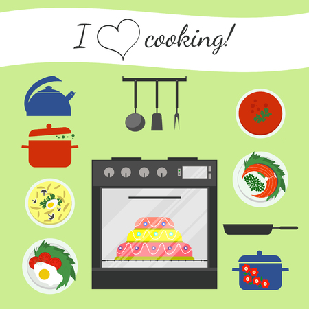 soup kettle: Flat stove and some kitchenware, food for dinner or lunch. Soup, fish, fried eggs. Saucepan, pot, kettle, frying pan, meal. Big sweet cake in stove.