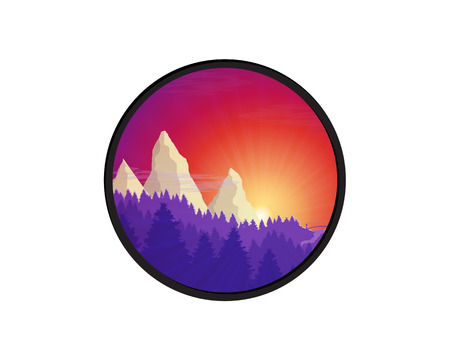 good nature: Flat nature forest landscape badge. Background with sunset, sunrise and mountains. Good for card, presentation, cover, invitation, template with place for text. Vector illustration with clipping path.