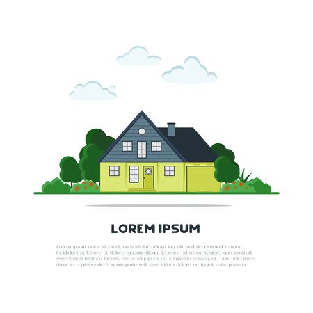 suburb: Flat suburb house with green trees and grass. Home background for card, banner, presentation template, real estate, social advertising, notebook cover, poster, postcard. Town vector illustration.