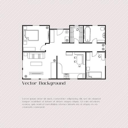 arquitecto: Fondo plan de la Casa de la tarjeta, bandera, plantilla de presentación, los bienes raíces, la publicidad social, cubierta del cuaderno, cartel, postal. Edificio con muebles. Ilustración del vector. Vectores