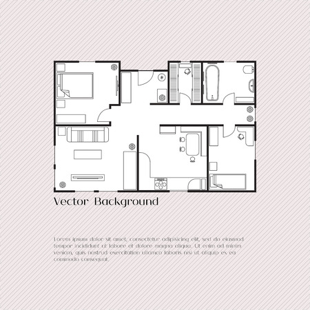 architect: House plan background for card, banner, presentation template, real estate, social advertising, notebook cover, poster, postcard. Building with furniture. Vector illustration.