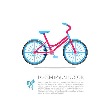 Flat pink bicycle with blue wheels for a girl. Good for banner, card, presentation, flyer, marketing materials. Trendy sports background with place for text. Vector illustration.