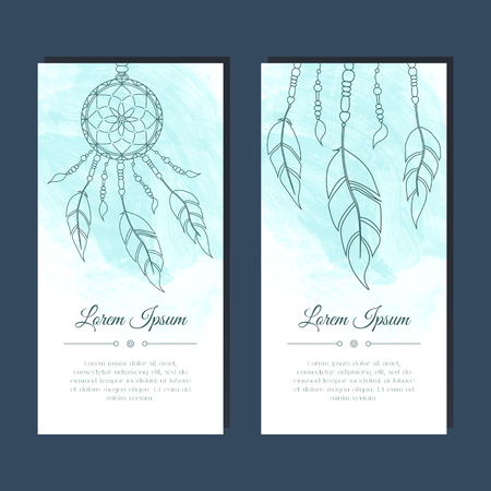 holiday party: Cards with dreamcatcher and feathers. Abstract background. Ethnic design for card, invitation, party, presentation, greeting, boho, wedding. Place for text. Vector illustration.