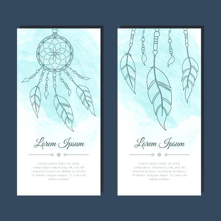 invitación a fiesta: Tarjetas con atrapasueños y plumas. Resumen de antecedentes. Diseño étnico para la tarjeta, invitación, partido, presentación, saludo, boho, boda. Lugar para el texto. Ilustración del vector.