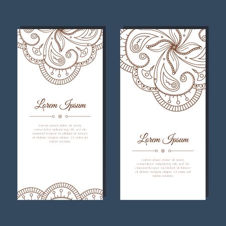 Tarjeta de felicitación linda con el ornamento floral mehndi zentangle. Fondo adornado abstracto. Bueno para la tarjeta, invitación de la boda, fiesta, celebración, folleto, banner. India, ornamento este. Ilustración vectorial
