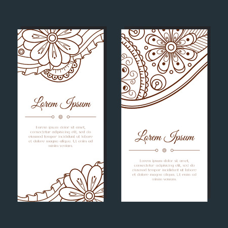 outline wedding: Cute cards with floral and paisley mehndi ornament. Hand drawn Indian doodle background. Ethnic zentangle pattern. Template for card, invitation, party, wedding, cover, poster. Vector illustration.