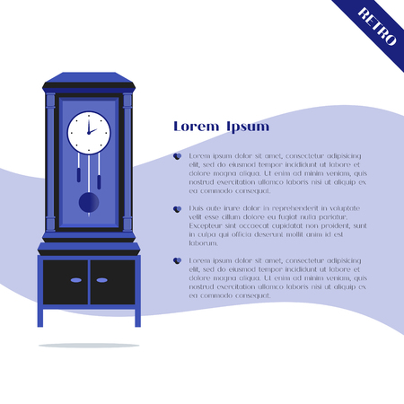 pendulum: Grandfather lock with pendulum, flat design background with place for text. Good for banner, card, poster. Old vintage clock in blue color. Retro object. Vector illustration.