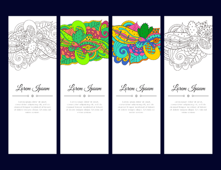 east indian: Set of cards or banners with colorful  ornament. Indian mehndi east style. Good for invitation, decoration, greeting, poster. bookmark, cover. bright color. Vector illustration