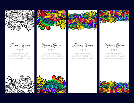 east indian: Set of cards or banners with colorful floral  ornament. Indian mehndi east style. Good for invitation, decoration, greeting, poster. bookmark, cover. bright color. Vector illustration