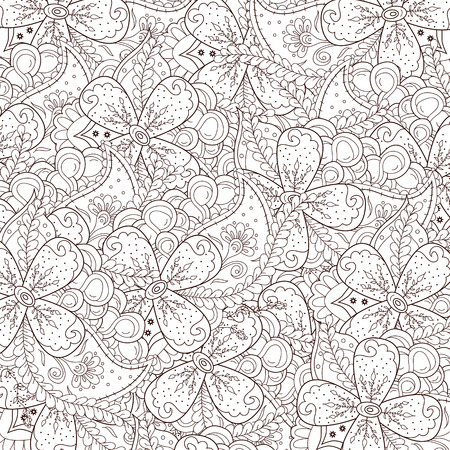 batik pattern: Abstract zentangle background with flowers and paisley. Doodle perfect for cards, invitations, wedding, t-shirt, brochure, flyer, presentation. Indian east style. Floral design. Vector illustration. Illustration