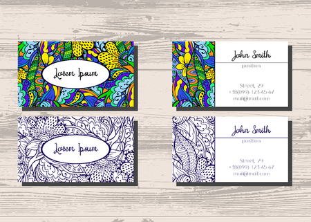 Business cards with two sides for your company and professionals business cards with two sides for your company and professionals hand drawn doodle pattern reheart Gallery