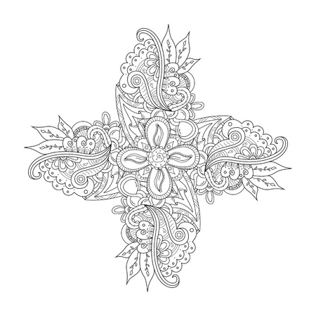 Abstract hand drawn ornament with paisley and flower elements in Indian mehndi style. Floral doodles. Orient traditional background design. Coloring page. Ethnic pattern. Vector illustration. Illustration