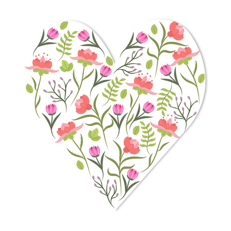 valentine card: Cute vintage heart shape with flowers and leaves. Beautiful floral background. Good for card, greeting, invitation, wedding, party, hen-party, baby shower, mothers day, valentine. Vector illustration