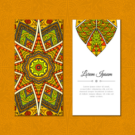 east indian: Cute greeting card with color mandala mehndi ornament. Abstract ornate background. Good for card, wedding invitation, party, celebration, flyer, banner. Indian, east ornament. Vector illustration