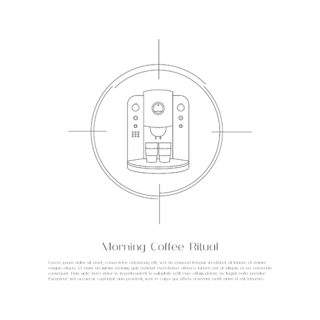 black appliances: Abstract simple flat coffee machine. Black thin linear outline icon. Professional coffee making equipment and appliances. Design elements for business and website. Vector illustration.