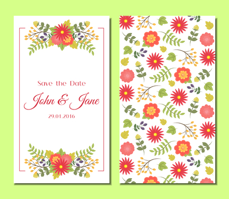 Cute vintage floral cards set. Design composition with flowers and leaves. Beautiful background. For greeting card, invitation, wedding, party, hen-party, baby shower, mother's day, valentines. Vector