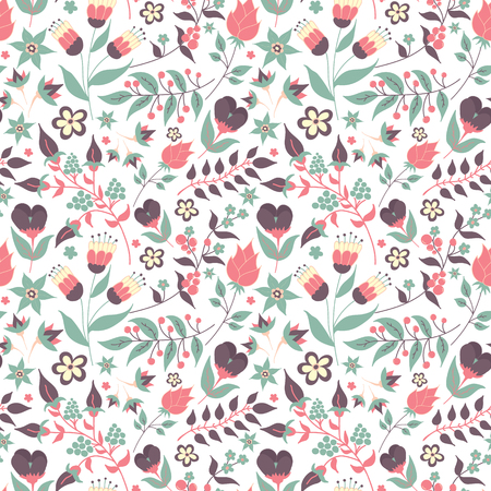 pajama: Floral seamless pattern with doodle flowers and leaves. Vector blooming floral texture for card, wrapping paper, invitation, card, wedding, surface or pajama pattern. Gentle autumn vector background. Illustration