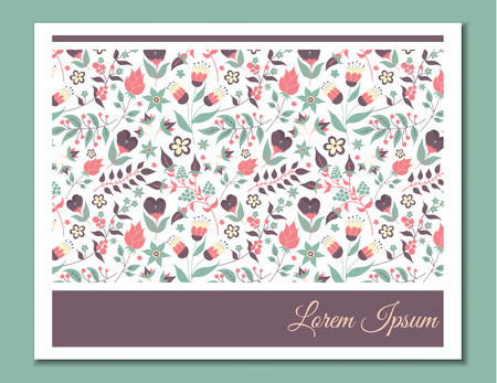 baby shower: Cute gentle card with floral pattern. Doodle flowers and leaves. Vector blooming floral texture for card, invitation, wedding, baby shower, bridal or hen-party. Vector with pink, purple and blue color Illustration