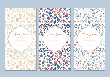 baby shower party: Cute vintage doodle floral cards set for invitation, label, banner, wedding, party, baby shower, hen-party, mothers day, valentine. Beautiful background with gentle flowers and leaves. Vector