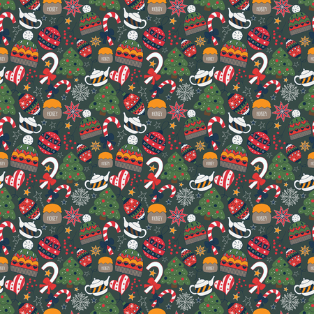 pajama: Winter doodle seamless pattern with tree, tea pot, toys, candies, hat. Vector cute texture for card, wrapping paper, invitation, card, surface or pajama pattern. Funny Christmas vector background.