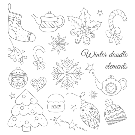 tea tree: Winter doodle elements set with tree, tea pot, toys, candies, hat, sock, Christmas mistletoe. For card, wrapping paper, invitation, card background, wrapping paper. Funny New Year vector illustration.
