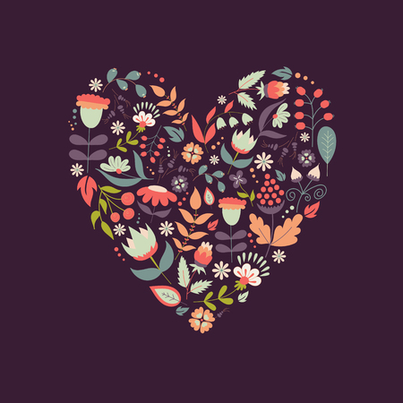 Cute vintage heart shape with flowers and leaves. Beautiful floral background. Good for card, greeting, invitation, wedding, party, hen-party, baby shower, mother's day, valentine. Vector illustration